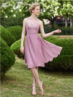 Beautiful Illusion Neckline Knee Length Bridesmaid Dress
