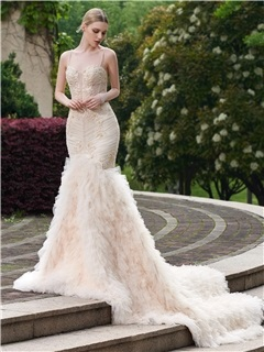 Fancy Spaghetti Straps Beaded Mermaid Wedding Dress
