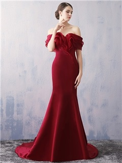 Amazing Off the Shoulder Tiered Mermaid Evening Dress
