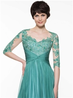 Beautiful V Neck Appliques A Line Long Mother of the Bride Dress