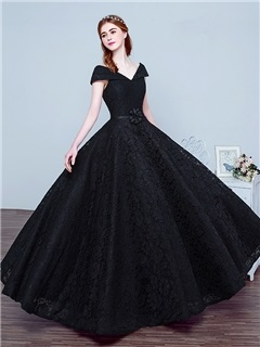 Vintage V-Neck Cap Sleeve Bowknot Lace Evening Dress