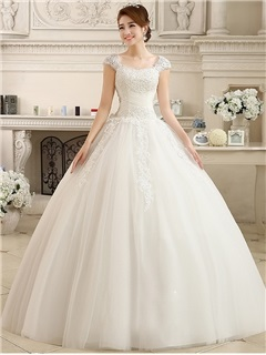 Modest Straps Beaded Ball Gown Wedding Dress