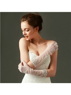 High Quality Beaded Long Bridal Gloves