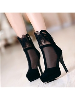 Black Mesh Patchwork Back-Zip Booties