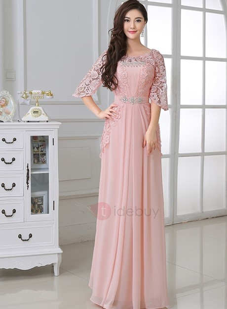 Vintage Half Sleeves Crystal Lace Prom Dress