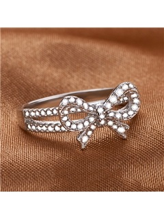 Elegant Diamond Bowtie Design Women Ring