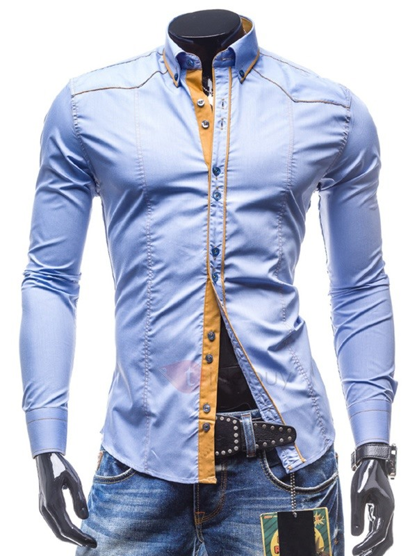 Color Block Casual Men's Cotton Blends Shirt