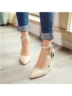 PU Chunky Heel Ankle Strap Pumps