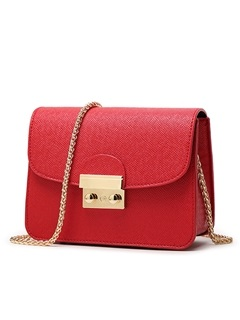 Pure Color Latch Decorated Women's Shoulder Bag 3