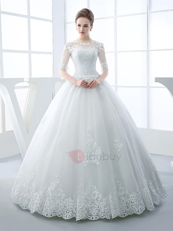 Luxury Beaded Ball Gown Wedding Dress With Sleeves