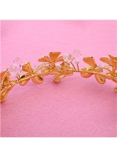 Graceful Flowers Shaped Pearl Inlaid Wedding Tiara