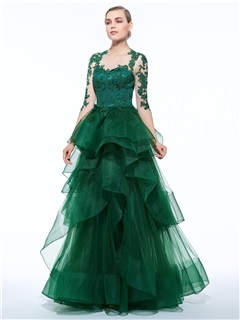 Vintage 3/4 Length Sleeves Ruffles Appliques Evening Dress