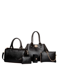 Chic Croco-embossed Women's Bag Set ( Five Bags )