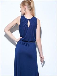 Amazing Jewel Neck Split-Front Column Evening Dress
