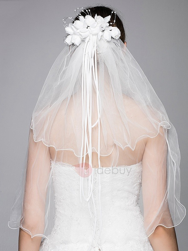 Elegant Flower White Wedding Veil