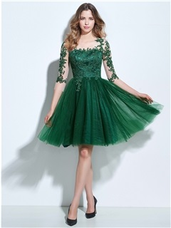 3/4 Length Sleeves Appliques Button Knee-Length Homecoming Dress