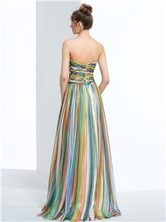 Contrast Color Sweetheart Pleats Print Prom Dress
