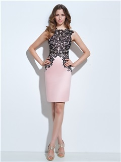 Modern Straps Button Lace Sheath Cocktail Dress