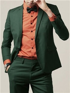 Solid Color Zipper Men's Two-Pieces Suit