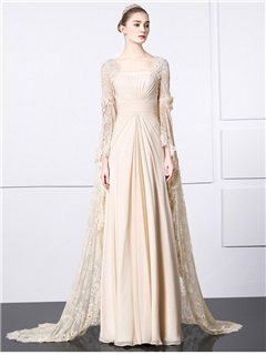 Vintage Square Neck Long Sleeve Watteau Train Lace Evening Dress