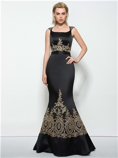 Square Neck Beading Sequins Appliques Mermaid Evening Dress
