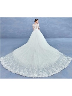 Elegant Beading Appliques Ball Gown Wedding Dress With Sleeves