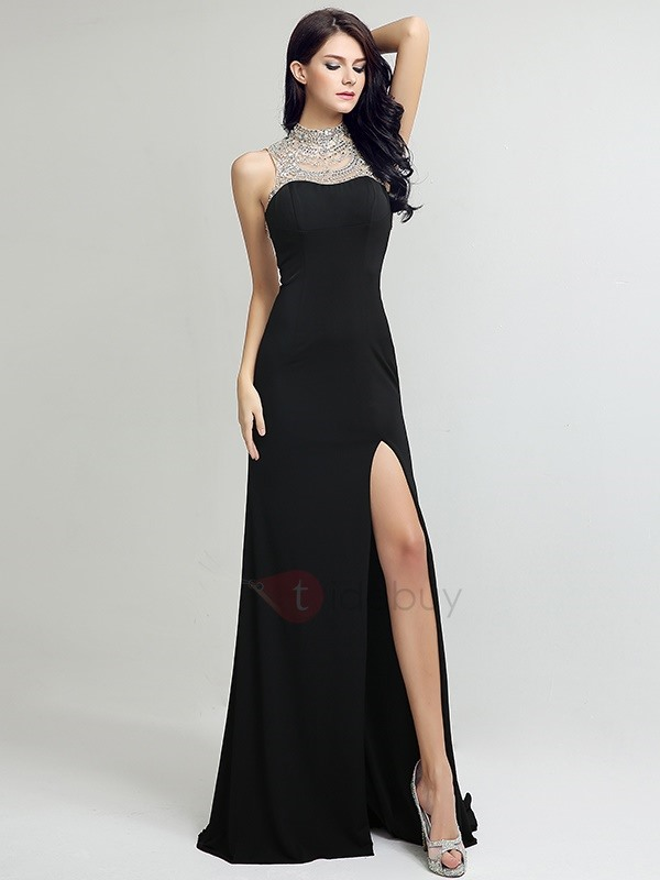 Modern High Neck Beading Split-Front Backless Evening Dress