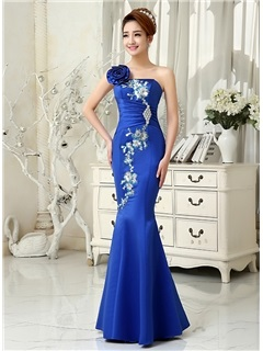 Vintage One Shouder Appliques Crystal Mermaid Evening Dress