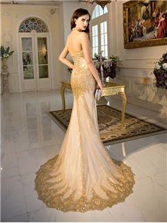Luxurious Halter Appliuqes Lace-Up Mermaid Evening Dress