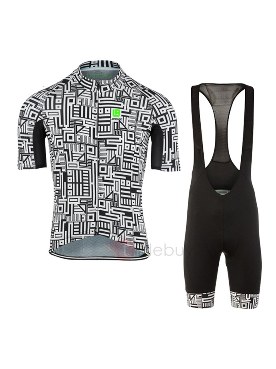 Geometric Front-Zip Bike Jersey & Bib Shorts