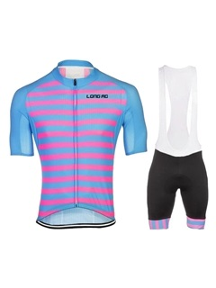 Full-Zip Colored Stripe Bike Jersey & Bib Shorts
