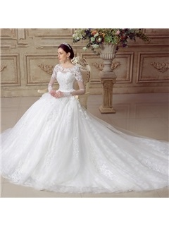 Beautiful Appliques Tulle Long Sleeves A Line Wedding Dress