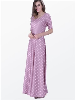 Polka Dots Short Sleeve Round Neck Maxi Dress