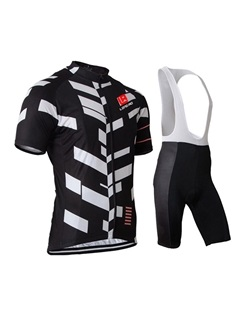 Polyester Geometric Print Men's Bike Jersey And Bib Shorts