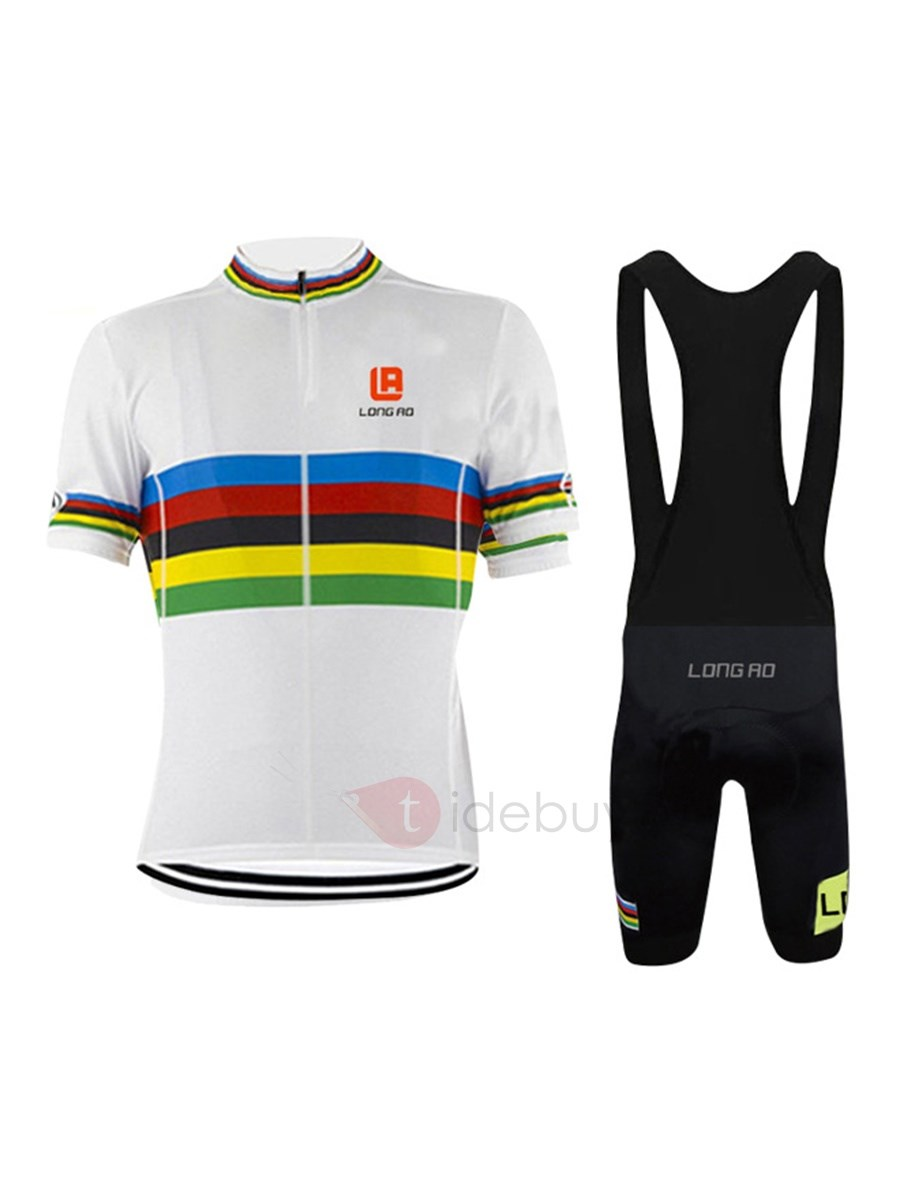 Polyester Contrasting Color Men's Jersey And Bib Shorts