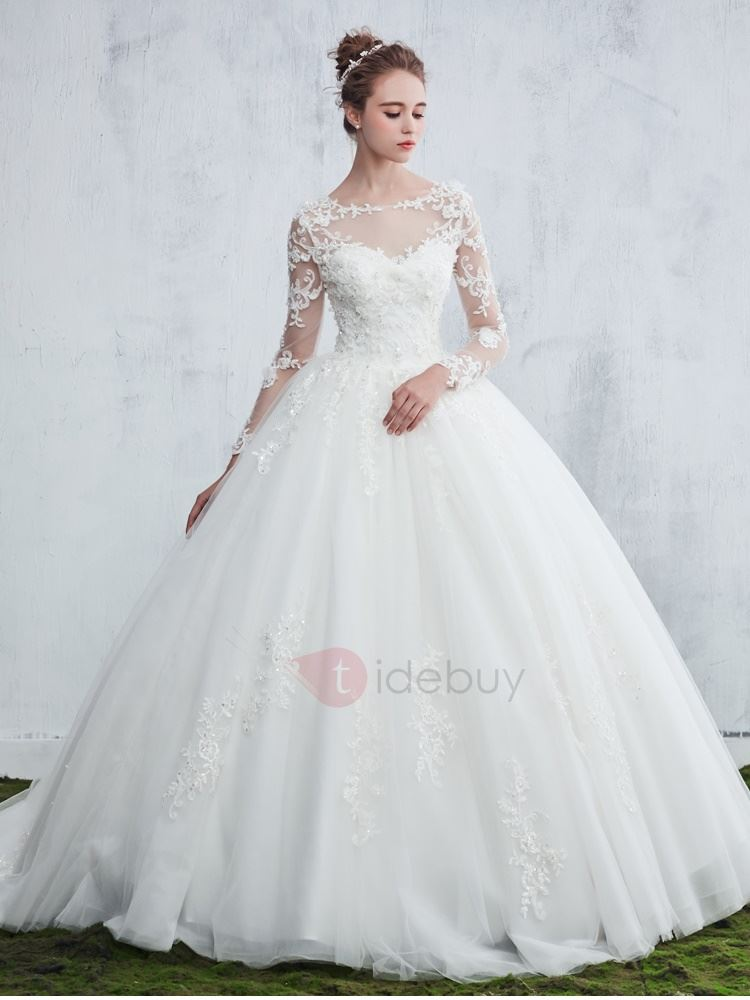 Delicate Scoop Neck Beaded Appliques Ball Gown Wedding Dress With Sleeves
