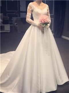 Elegant V Neck Appliques Lace A Line Wedding Dress With Sleeves 23