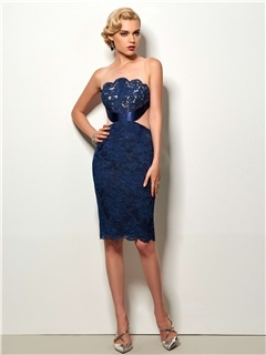 ELegant Sheath Scoop Appliques Lace Knee-Length Cocktail Dress