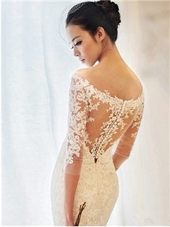 Elegant Off The ShoulderLace Appliques Mermaid Wedding Dress