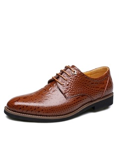 Embossed PU Plain Toe Men's Dress Shoes