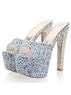 Sequins Peep-Toe Slip-On Platform Sandals