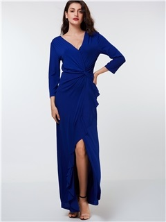 V-Neck Falbala Split  Dres