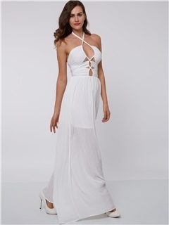 Sexy  Hollow White Evening Dress