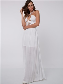 Sexy Halter Hollow White Evening Dress