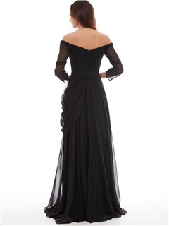 Off the Shoulder Sleeves Draped Evening Dresss