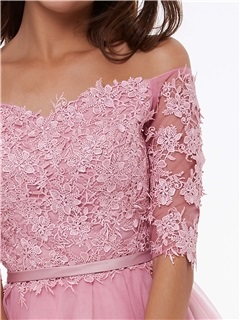 Off the Shoulder Half Sleeves A-Line Appliques Homecoming Dress
