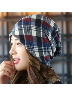 Double Layers Colorful Grid Women's Hat