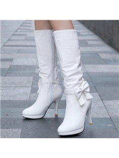 Bowknots PU Zippered Short Boots