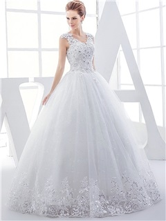 V Neck Beaded Appliques Floor Length Ball Gown Wedding Dress