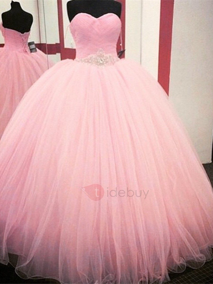 Dramatic Sweetheart Pleats Beading Ball Gown Quinceanera Dress